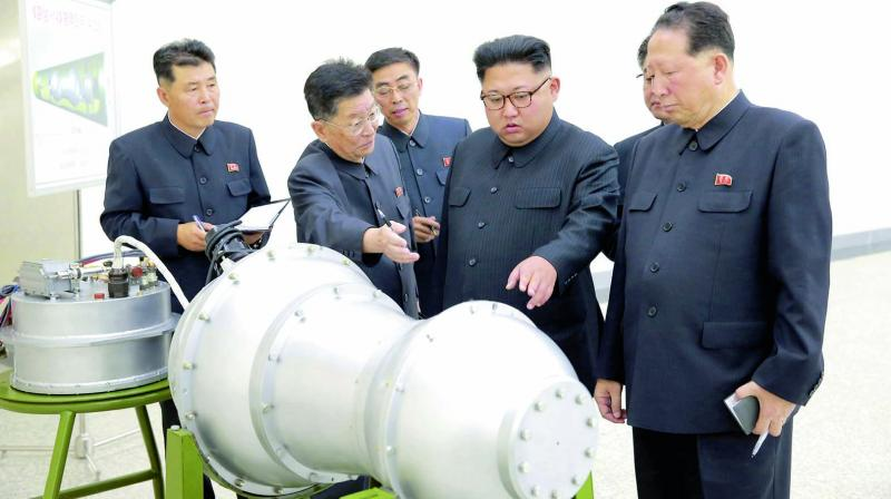 North Korea's state media said Kim inspected the loading of a hydrogen bomb into a new ICBM. (Photo: AP)
