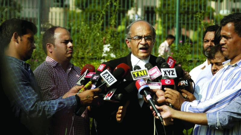 However, Bhushan filed an application in the court seeking recusal of Justice Arun Mishra from hearing the contempt petition filed by Venugopal. (Photo: File)
