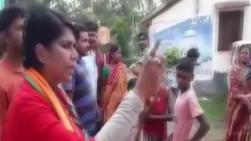 'You are threatening people to not to cast their votes. I will also drag them (TMC workers) out of their houses and thrash them like dogs. Whatever they will give, will return to them with interest,' the BJP candidate said. (Photo: ANI I Twitter)