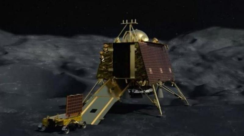 The indigenously developed Chandrayaan-2 spacecraft comprising of orbiter, lander and rover was successfully launched on-board the indigenous GSLV MK III-M1 Mission on July 22. (Photo: File)