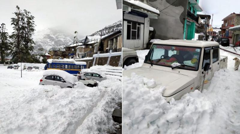Over 500 people remain stuck in other areas in Lahaul and Spiti district, officials said Tuesday. (Photo: Twitter | ANI)