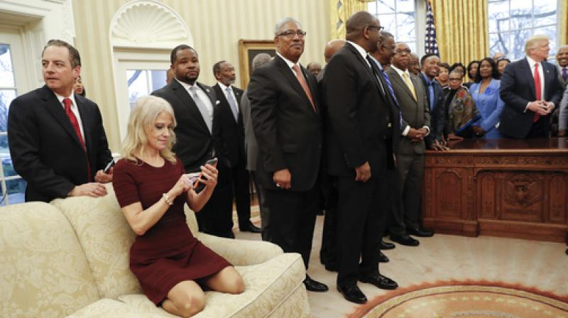 President Donald Trump meets with leaders of Historically Black Colleges and Universities (HBCU) in the Oval Office of the White House in Washington. (Photo: AP)