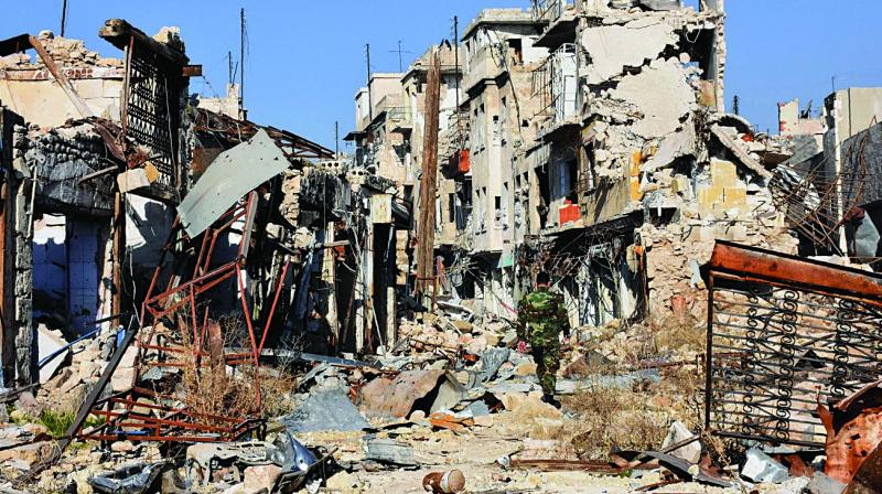 Damaged buildings in old Aleppo's Jdeideh neighbourhood after an intense bombing campaign. (Photo: AFP)