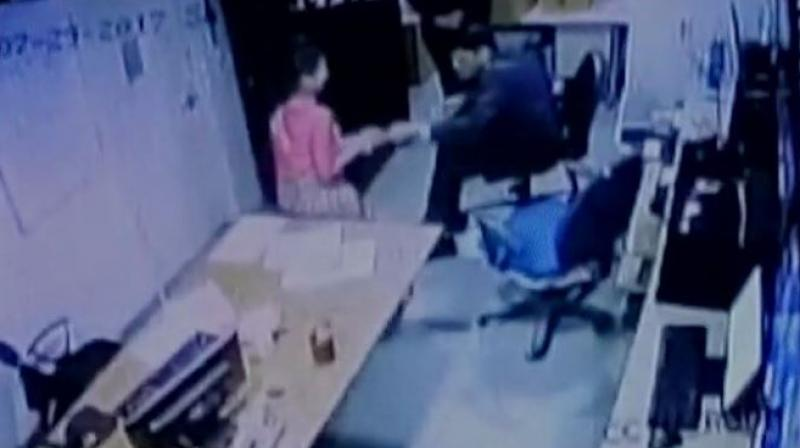 CCTV footage shows a woman in a five star hotel in Delhi was assaulted by security manager. (Photo: ANI   Twitter)