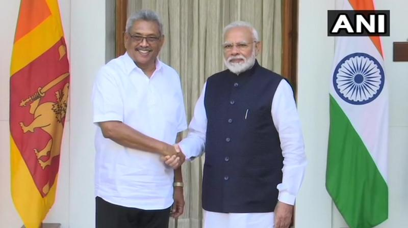 Upon his arrival at Rashtrapati Bhawan, Rajapaksa was received by President Ram Nath Kovind and Prime Minister Narendra Modi and was accorded a ceremonial reception (Photo: ANII)