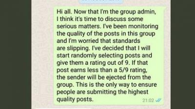 WhatsApp group admin takes role seriously