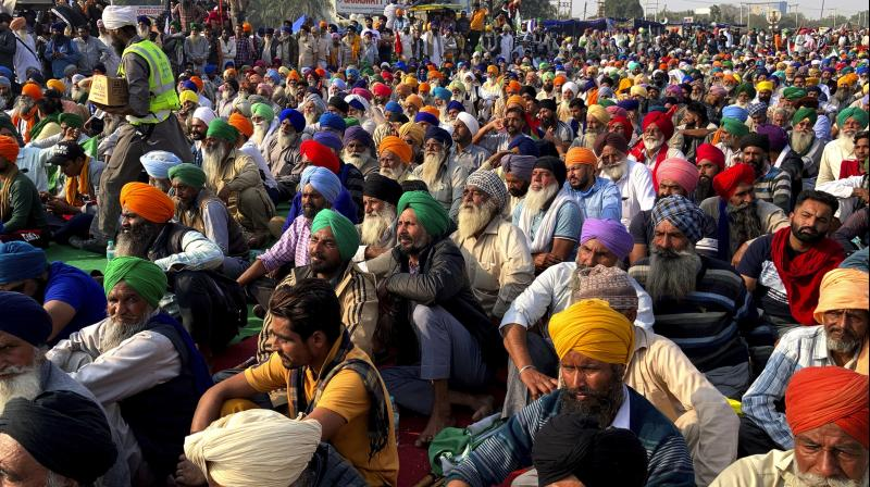 Indian farmers protesting new agriculture laws hold a meeting at the Delhi-Haryana state border, Monday, Nov. 30, 2020. (AP)