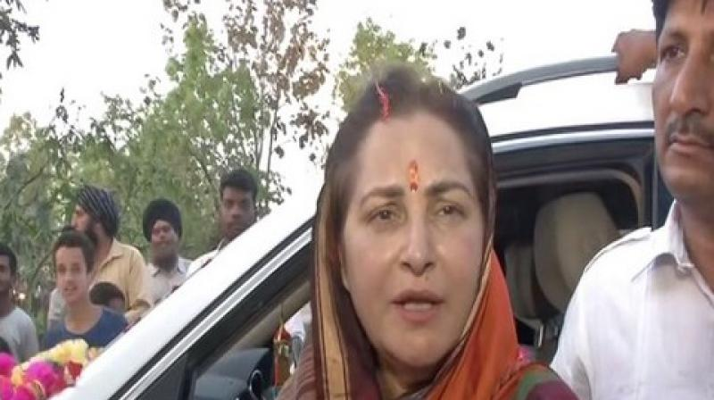 Jaya Prada, the Bharatiya Janata Party candidate from Rampur, has slammed her opponent Azam Khan, for making a derogatory remark against her a few days ago, saying the Samajwadi Party leader has not only insulted her but the entire women community. (Photo: ANI)