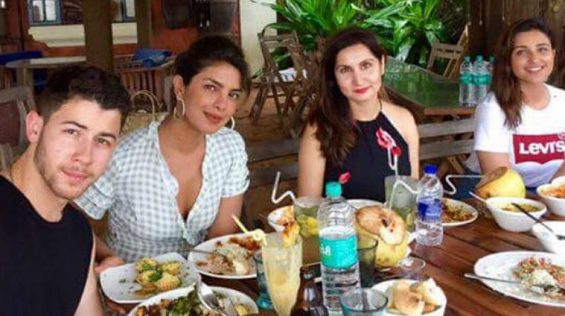 Priyanka Chopra, Nick Jonas and Parineeti Chopra in Goa.