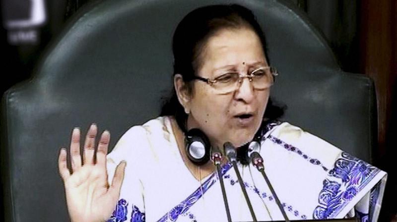 peaker Sumitra Mahajan in the Lok Sabha in New Delhi. (Photo: PTI)