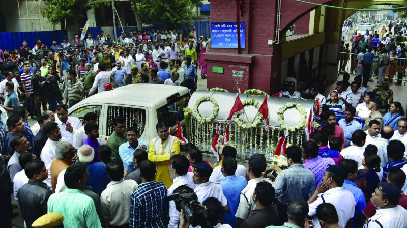 People attend the funeral ceremony of Matua community matriarch Binapani Devi, popularly known as 'Boroma', in Kolkata on Wednesday. (Photo: PTI)