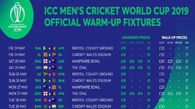 2019 Icc Cricket World Cup Warm Up Fixture Tickets Set To Be