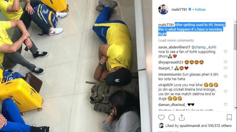 The former India skipper can be seen sleeping on the floors of Chennai airport. (Photo: MS Dhoni Twitter)