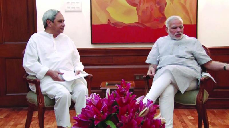 A file photo of Prime Minister Narendra Modi and Odisha chief minister Naveen Patnaik who spoke to each other before the election for Rajya Sabha's deputy chairman.