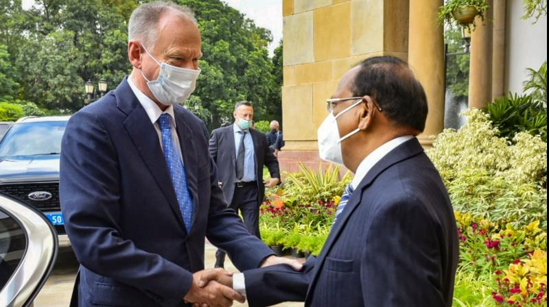 NSA Ajit Doval welcomes Russian Security Council Secretary Nikolai Patrushev for a bilateral meeting on security cooperation, in New Delhi, Wednesday, Sep 8, 2021. (PTI)