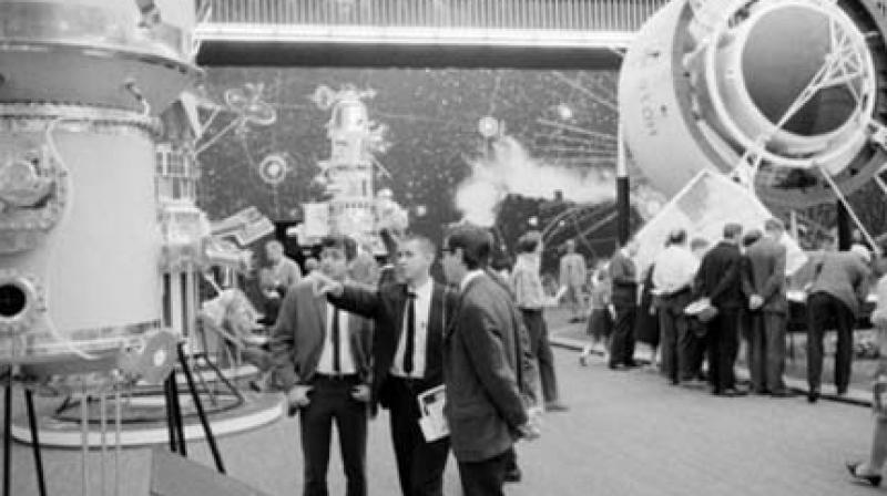 A view of the USSR exhibit organised at the Messehall in Vienna in connection with the Outer Space Conference from August 14 to 27 in 1968