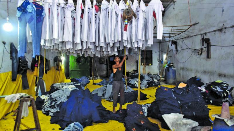 Inside a jeans washing unit in Bhiwandi. (Photo: Debasish Dey)