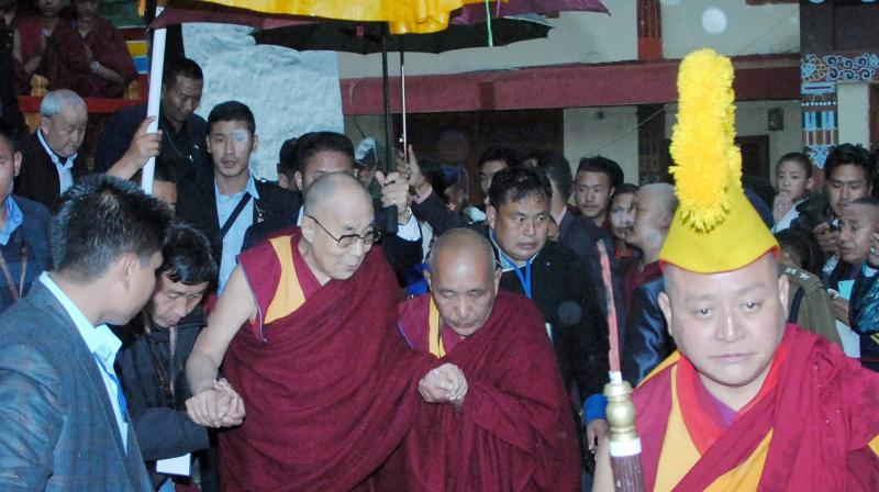 Tibetan spiritual leader Dalai Lama arrives at Bomdila in West Kameng district of Arunachal Pradesh on Tuesday.  (Photo: PTI)