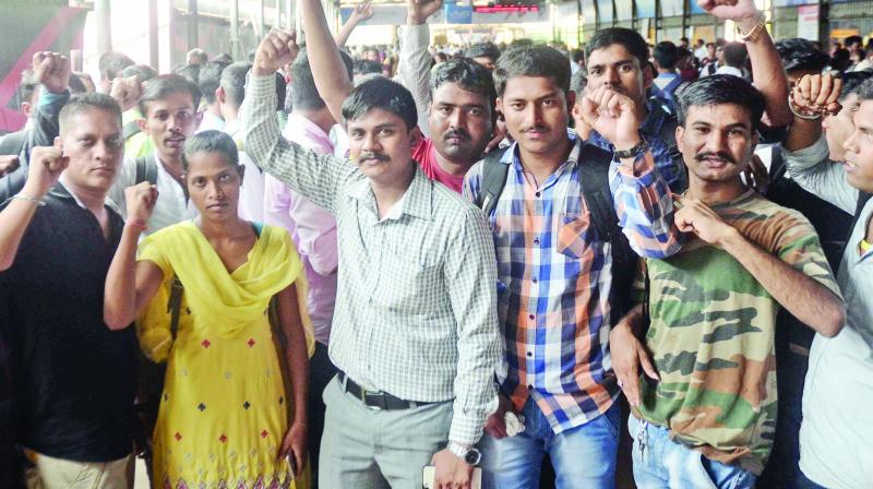 The staffers protesting to be employees. (Photo: Shripab Naik)