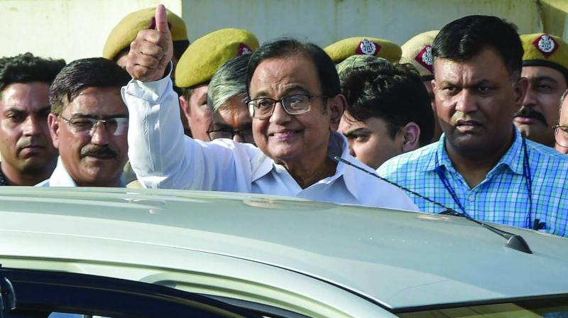 Senior Congress leader and former Union minister P. Chidambaram after being produced at a court in the INX Media case in New Delhi on Monday. (Photo: PTI)