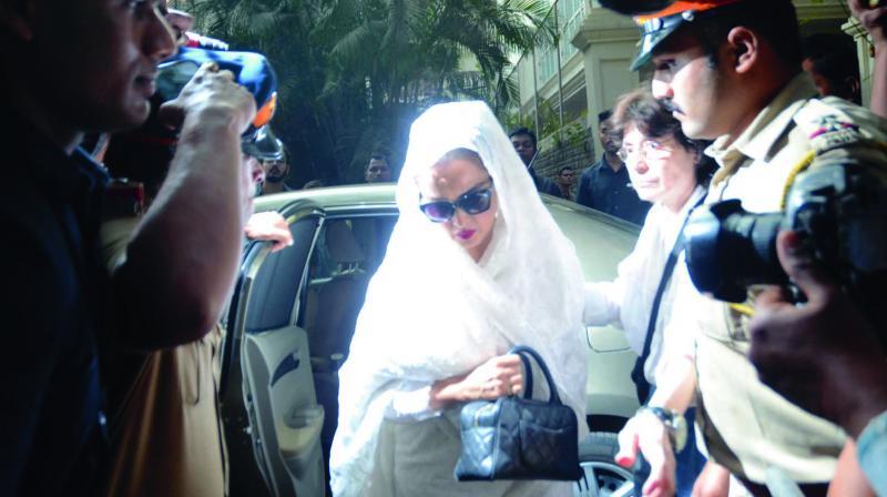 Actress Rekha visits Anil Kapoor's house in Mumbai on Sunday after the sudden death of actress Sridevi. (Photo: Shripad Naik)