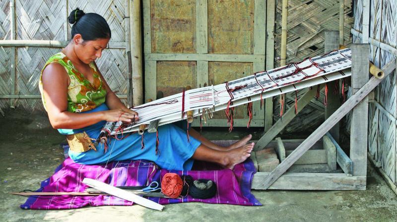 Artist working with eri silk