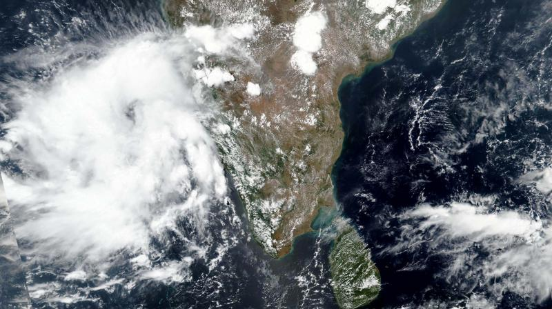 This satellite image released by NASA shows Cyclone Nisarga roaring toward the western coast of India. PTI photo