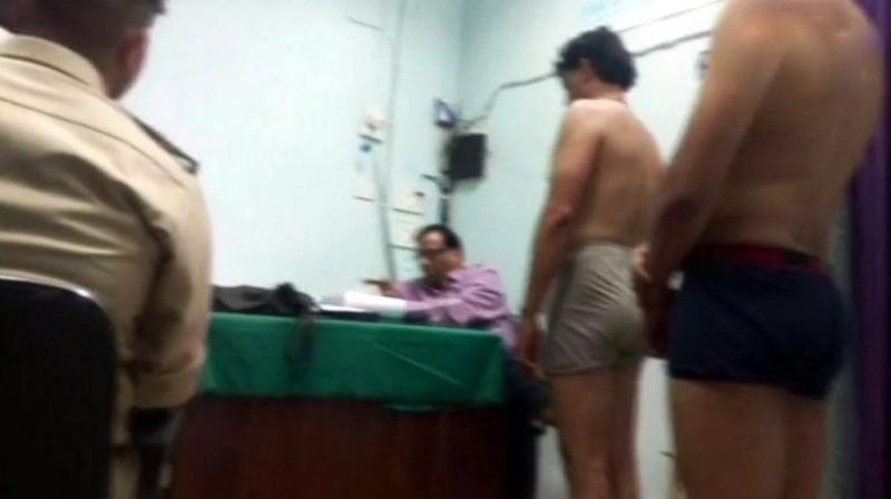 The footage showed young male applicants stripped to their undergarments, lined up to get their height and chest measured in the same room where woman candidates were also being checked. (Photo: ANI | Twitter)