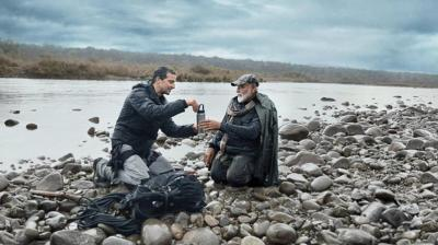 Bear Grylls posted on Twitter, a teaser clip and wrote, 'People across 180 countries will get to see the unknown side of PM @narendramodi as he ventures into Indian wilderness to create awareness about animal conservation and environmental change. Catch Man Vs Wild with PM Modi @DiscoveryIN on August 12 @ 9 pm.' (Photo: Twitter | Bear Grylls)