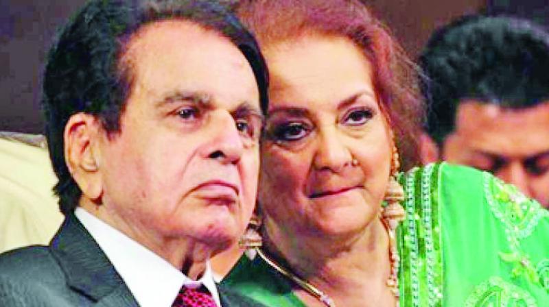 Dilip Kumar and his wife Saira Banu.