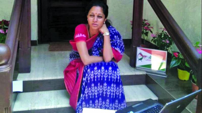 Supriya Sule at NCP office in Mumbai. (Photo: Rajesh Jadhav)