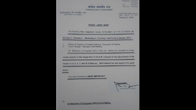 The whip issued by the Congress Party on Sunday. (Photo: ANI)