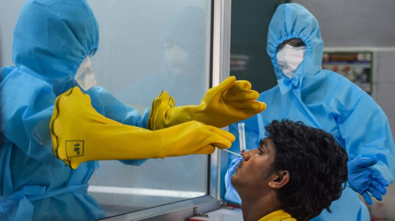 A doctor from inside a protective chamber collects swab sample of a person at a newly installed Walk-In Sample Kiosk (WISK) for COVID-19 test at a government-run hospital during the nationwide lockdown, in Chennai. PTI photo