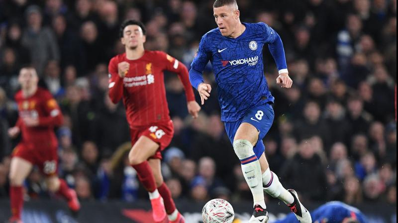 Chelea's Ross Barkley begins his run which culminates in a goal against Liverpool in FA Cup at Stamford Bridge, London, on Tuesday. AFP Photo