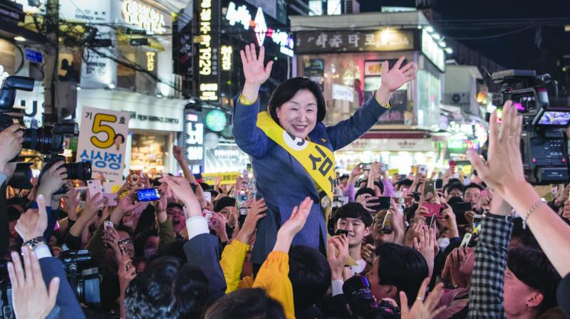 A file picture shows South Korean presidential hopeful Sim Sang-Jeung attending a rally in Seoul. Only one of the 13 aspirants for the post is a woman. (Photo: AP)