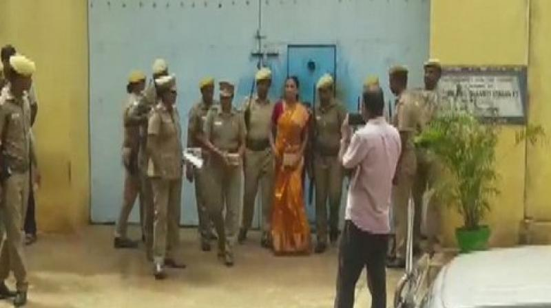 Nalini, lodged in prison for the past 28 years, was released from Vellore Central Prison on July 25, after the court had granted her parole for 30 days.  (Photo: ANI)