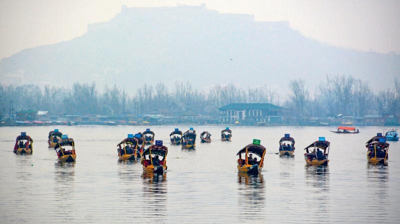 Members of the delegation of EU parlimentarians enjoy boat rides on a shikara on the Dal Lake in Srinagar on February 12, 2020. (PTI)