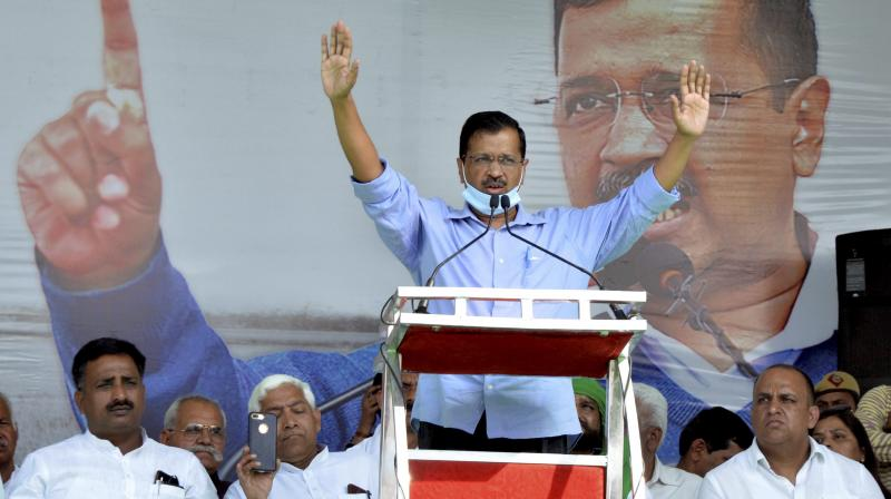 AAP National Convenor and Delhi Chief Minister Arvind Kejriwal addresses during farmer's rally, in Meerut. (PTI)