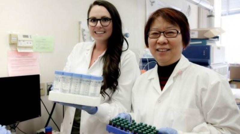 PhD student Lindsay Blackstock (left) and her supervisor, Xing-Fang Li, found telltale signs of urine in public swimming pools by looking for traces of artificial sweetener. (Image: University of Alberta)
