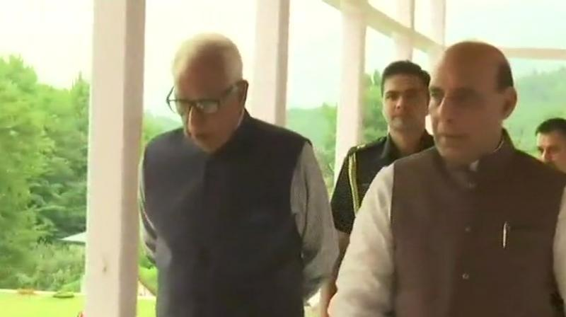 """Singh held one-on-one meeting with Governor, NN Vohra, to discuss various important issues relating to """"security management, implementation of development programmes and positive engagement of the youth inthe state. (Photo: ANI 