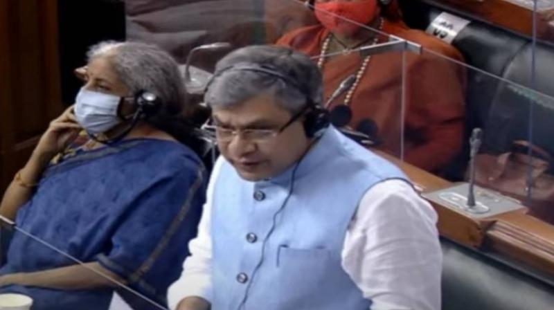 Minister for Electronics and Information Technology Ashwini Vaishnaw seapks on Pegasus in Parliament. (ANI)