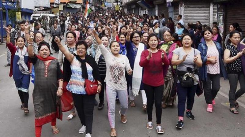 Activists of GJM take out rally in Darjeeling on Sunday. (Photo: PTI)