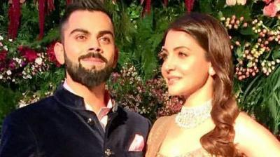 Anushka Sharma and Virat Kohli at their wedding reception in Mumbai.