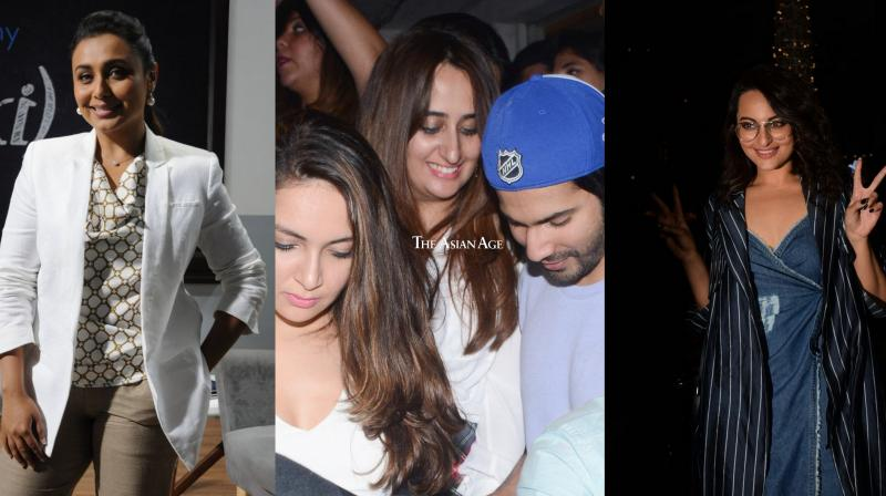 Checkout the exclusive pictures of Rani Mukerji, Yami Gautam, Kriti Sanon, Sonakshi Sinha, and Varun Dhawan with GF Natasha Dalal. The glamorous B-town celebs were snapped by the paparazzi. (Photos: Viral Bhayani)