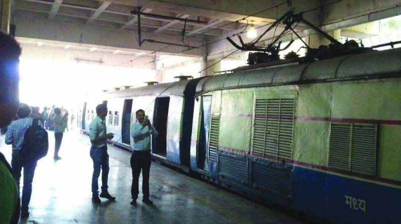 Commuters stranded at Belapur on Tuesday