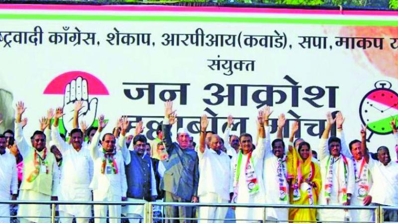 Congress and NCP leaders shared stage at the 'Jan Akrosh Halla Bol' rally in Nagpur.