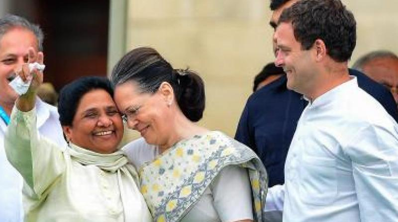 During the election campaign, Mayawati had attacked the Congress blaming the age-old party for the defection of BSP candidate in Madhya Pradesh. (Photo: PTI)