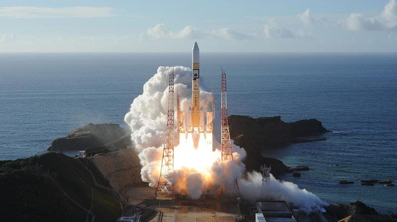 In this handout photograph released on July 20, 2020, by Mitsubishi Heavy Industries an H-2A rocket carrying the Hope Probe, known as 'Al-Amal' in Arabic, developed by the Mohammed Bin Rashid Space Centre in UAE to explore Mars, blasts off from Tanegashima Space Centre in southwestern Japan.  (Photo by Handout / Mitsubishi Heavy Industries / AFP)
