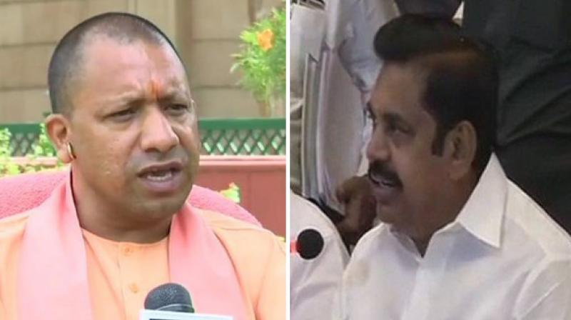 Chief Minister Yogi Adityanath and Chief Minister Edappadi K. Palaniswami made the contribution from their respective state relief funds to help people affected by cyclone Fani that hit the state on Friday. (Photo: ANI)