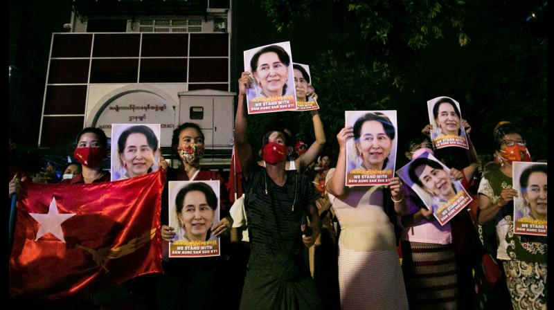 Aung San Suu Kyi's National League for Democracy won enough seats in Parliament to return to power for a second five-year term (AFP Photo)